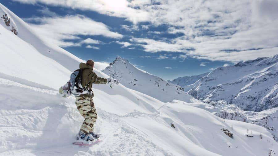 Backcountry snowboarder