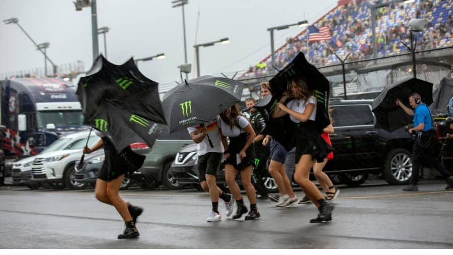 Raining at NASCAR Race